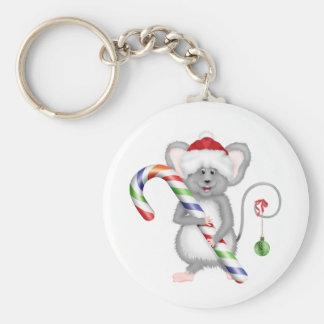 Ratón lindo del navidad con el gorra de Santa Llavero Redondo Tipo Pin