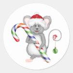 Ratón lindo del navidad con el gorra de Santa Etiqueta