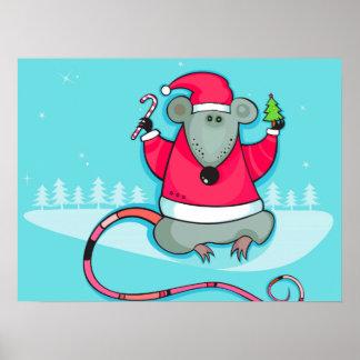 Ratón lindo del navidad que lleva el equipo de San Posters