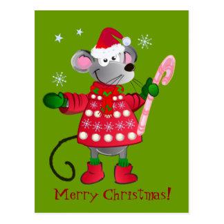 Ratón lindo del navidad tarjetas postales