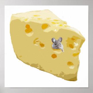 Ratón lindo en queso suizo impresiones