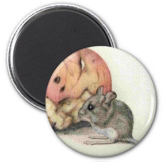 Ratón lindo imán redondo 5 cm