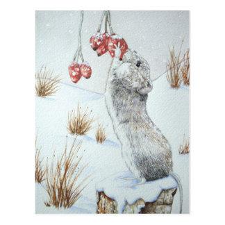Ratón lindo y arte rojo de la fauna de la escena d tarjeta postal
