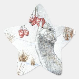 Ratón lindo y arte rojo de la fauna de la escena pegatina en forma de estrella