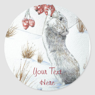 Ratón lindo y arte rojo de la fauna de la escena pegatina redonda