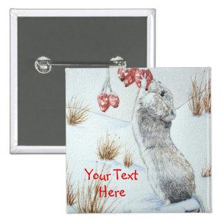 Ratón lindo y arte rojo de la fauna de la escena pin cuadrado