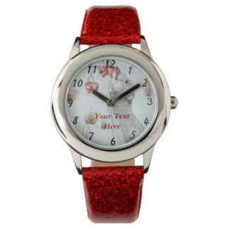 ratón lindo y arte rojo de la fauna de la escena reloj de mano