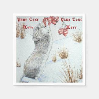Ratón lindo y arte rojo de la fauna de la escena servilletas de papel