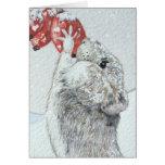 Ratón lindo y arte rojo de la fauna de la escena tarjetón