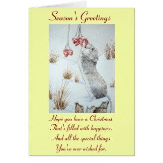 Ratón lindo y arte rojo de la fauna de la escena tarjeta de felicitación