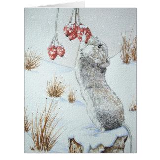 Ratón lindo y arte rojo de la fauna de la escena tarjeta de felicitación grande