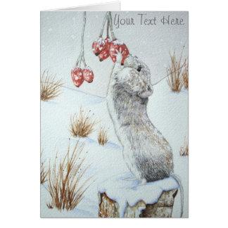 Ratón lindo y arte rojo de la fauna de la escena tarjeta pequeña
