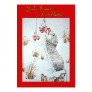"""Ratón lindo y fauna roja de la escena de la nieve invitación 3.5"""" x 5"""""""
