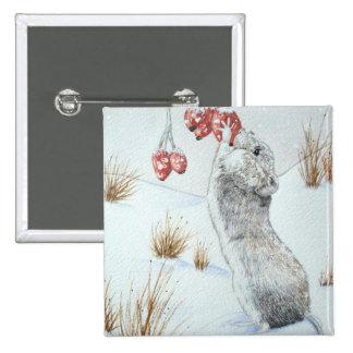 Ratón lindo y fauna roja de la escena de la nieve pin cuadrado