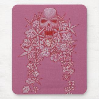 Ratón Matt del cráneo y de la flor Alfombrilla De Raton