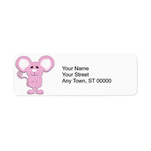 ratón mousey del lunar rosado lindo etiquetas de remite