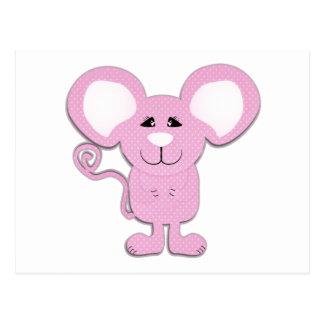 ratón mousey del lunar rosado lindo postal
