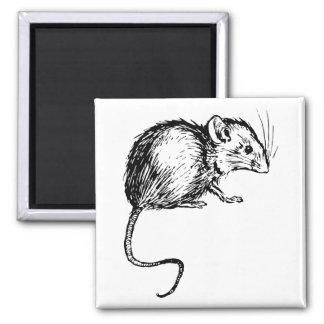 Ratón mullido negro y blanco del vintage retro imán cuadrado