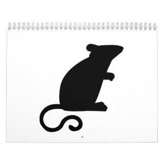 Ratón negro calendarios de pared