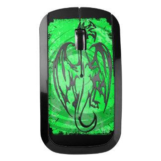 Ratón negro verde de la radio del dragón del ratón inalámbrico