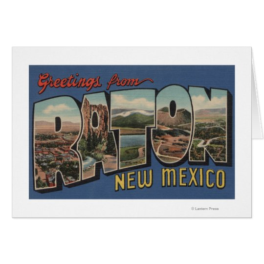 Raton, New Mexico - Large Letter Scenes Card