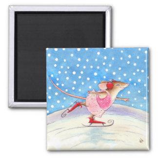 Ratón patinador dichoso imán cuadrado