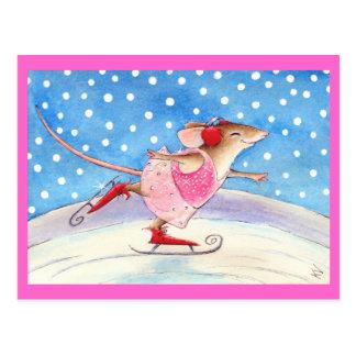 Ratón patinador rosado lindo postales