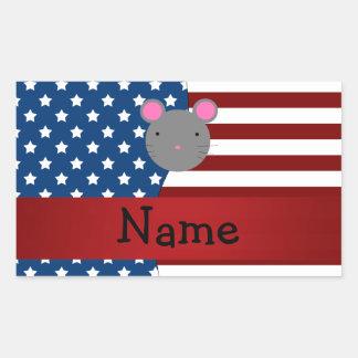 Ratón patriótico conocido personalizado rectangular pegatinas