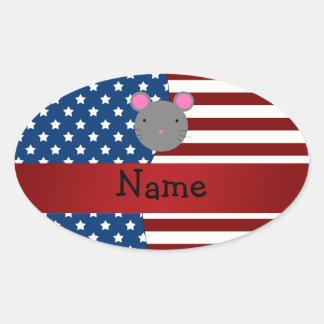 Ratón patriótico conocido personalizado etiqueta