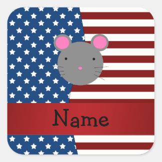 Ratón patriótico conocido personalizado calcomanías cuadradass personalizadas