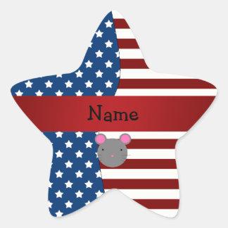 Ratón patriótico conocido personalizado calcomania cuadrada personalizada