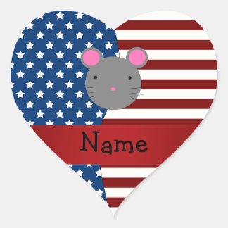 Ratón patriótico conocido personalizado calcomanía corazón