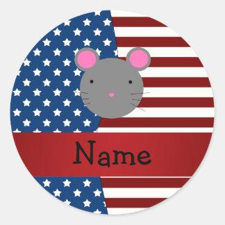 Ratón patriótico conocido personalizado etiquetas redondas