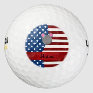 Ratón patriótico conocido personalizado pack de pelotas de golf