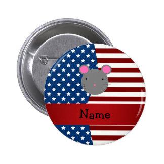 Ratón patriótico conocido personalizado pin