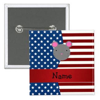 Ratón patriótico conocido personalizado pins