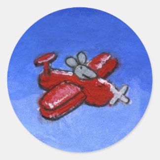 Ratón plano pegatina redonda