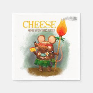 Ratón prehistórico del queso y de la cueva servilletas desechables