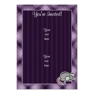 """Ratón púrpura invitación 5"""" x 7"""""""