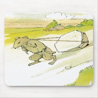 Ratón que arrastra la roca grande alfombrilla de ratón