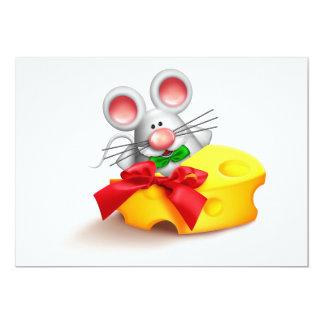 """Ratón que come invitaciones del queso invitación 5"""" x 7"""""""