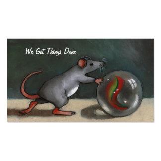 Ratón que empuja el mármol: Esfuerzo: Arte origina Tarjeta De Negocio