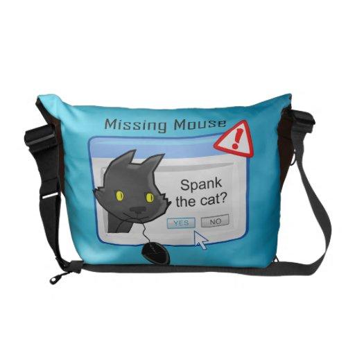 ¿Ratón que falta? ¡Azote el gato! Bolsa Messenger