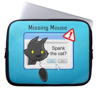 ¿Ratón que falta? ¡Azote el gato! Funda Computadora