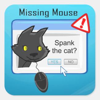 ¿Ratón que falta? ¡Azote el gato! Pegatina Cuadrada