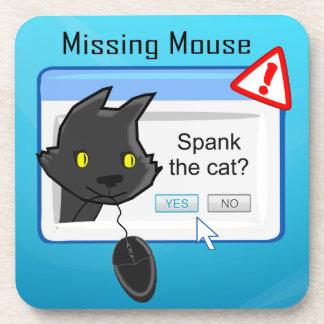 ¿Ratón que falta? ¡Azote el gato! Posavasos