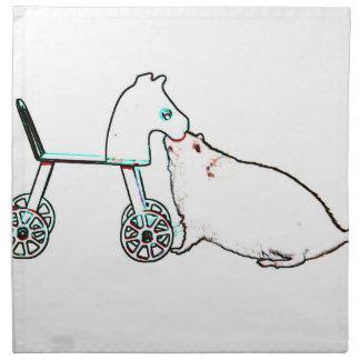 ratón que huele el animal lindo del caballo rodado servilletas imprimidas