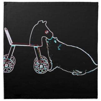 ratón que huele el animal lindo oscuro del caballo servilleta imprimida