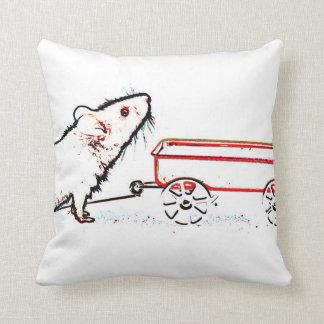 ratón que levanta encima de esquema con el carro cojín decorativo
