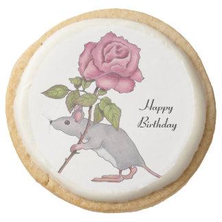 Ratón que lleva un color de rosa rosado, arte del